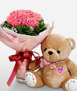 Pink Wishes-Pink,Teddy,Rose,Bouquet