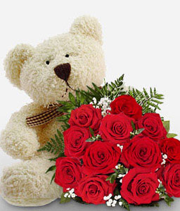 Teddy And Red Roses-Red,Rose,Teddy,Bouquet
