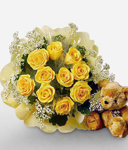 Golden Love-Yellow,Teddy,Rose,Bouquet