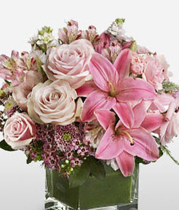Pink Blush-Pink,Lily,Rose,Arrangement