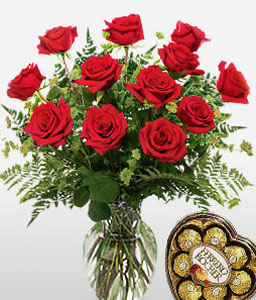 Dozen Sweethearts-Red,Rose,Chocolate,Arrangement