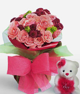 Romantic Cuddles-Pink,Red,Rose,Teddy,Bouquet
