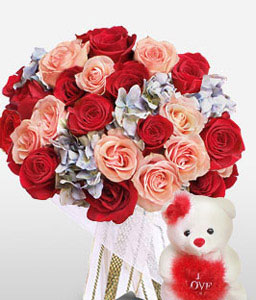 Honey Bear-Pink,Red,Rose,Bouquet