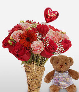 Cuddly Affair-Pink,Red,Teddy,Rose,Gerbera,Chocolate,Arrangement