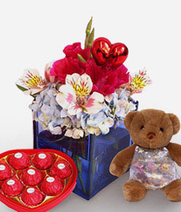 Enchanting Delight-Red,White,Chocolate,Alstroemeria,Mixed Flower,Arrangement