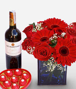 Romantica Fiesta-Red,Wine,Rose,Gerbera,Chocolate,Arrangement