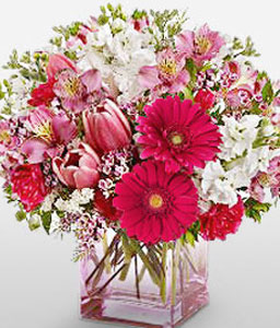 Eclectic Mixed Blooms-Mixed,Pink,Red,White,Carnation,Daisy,Gerbera,Mixed Flower,Tulip,Arrangement