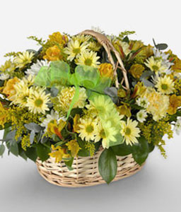Golden Gauteng-Green,Mixed,White,Yellow,Alstroemeria,Carnation,Daisy,Gerbera,Mixed Flower,Rose,Arrangement