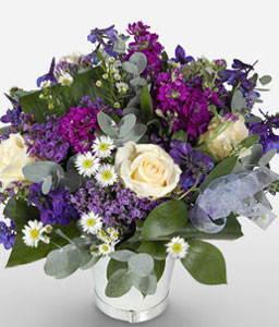 Kwazulu Natal-Blue,Lavender,Purple,Violet,White,Mixed Flower,Rose,Arrangement