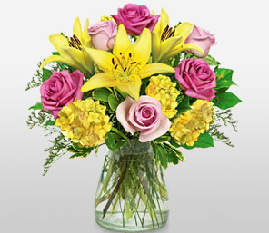 Tycoon-Mixed,Pink,Yellow,Carnation,Lily,Mixed Flower,Rose,Arrangement