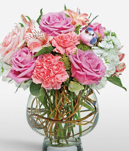 Pink Panther-Mixed,Pink,Purple,Carnation,Mixed Flower,Rose,Arrangement