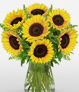 Golden Sunflowers-Green,Yellow,SunFlower,Arrangement