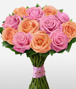 Angelic Vision-Mixed,Peach,Pink,Yellow,Rose,Arrangement