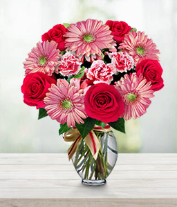 Bouquet of Mixed Flowers-Pink,Red,Carnation,Daisy,Gerbera,Mixed Flower,Rose,Bouquet