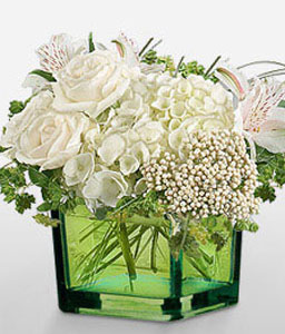 Pure-White,Alstroemeria,Hydrangea,Rose,Arrangement