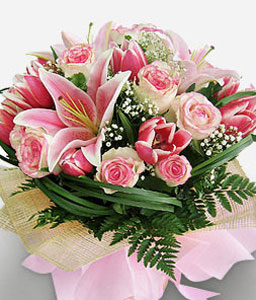 Starry Eyed - Stargazer Lilies & Pink Roses-Pink,Lily,Rose,Bouquet