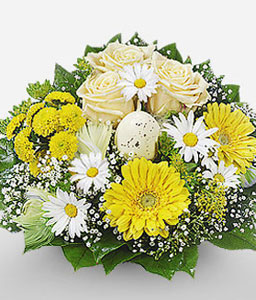 Hopeful Dawn-Green,White,Yellow,Daisy,Gerbera,Rose,Bouquet