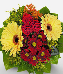Glow of Spring-Red,Yellow,Daisy,Gerbera,Rose,Bouquet