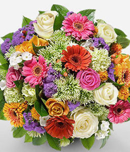 Mixed Spring Bouquet-Green,Mixed,Pink,Purple,Red,White,Daisy,Gerbera,Rose,Bouquet