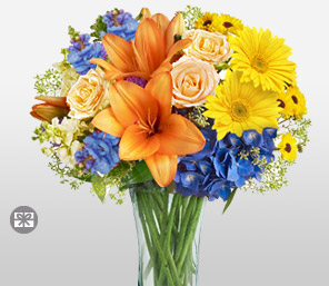 Niagara-Blue,Mixed,Orange,Peach,Pink,Yellow,Daisy,Gerbera,Hydrangea,Lily,Mixed Flower,Rose,Arrangement