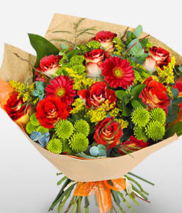 Shamwari Sunset-Green,Red,Chrysanthemum,Daisy,Gerbera,Mixed Flower,Rose,Bouquet