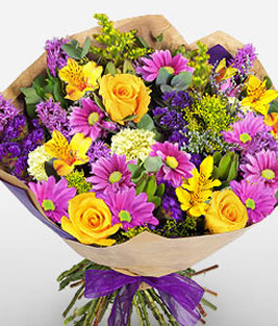 Blue Train-Blue,Green,Lavender,Mixed,Pink,Yellow,Chrysanthemum,Daisy,Gerbera,Mixed Flower,Rose,Bouquet