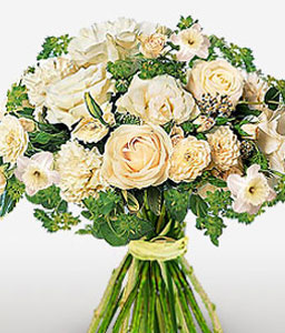 Funeral Flowers-White,Carnation,Rose,Bouquet