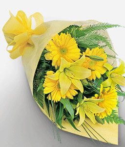 Bouquet Of Gerbera N Lilies-Yellow,Daisy,Gerbera,Lily,Bouquet