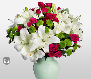 Snow White-Green,Mixed,Red,White,Rose,Lily,Arrangement