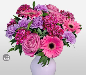 Perky Pink and Purple Bouquet-Lavender,Pink,Purple,Carnation,Daisy,Gerbera,Mixed Flower,Rose,Arrangement