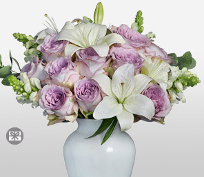 Yankee Doodle-Lavender,Purple,White,Lily,Rose,Arrangement