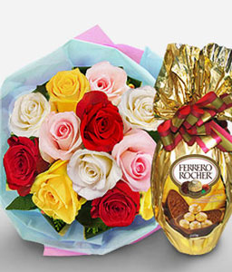Cheer-Mixed,Orange,Pink,Red,White,Yellow,Chocolate,Rose,Bouquet