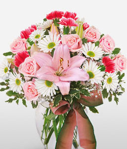 Simply Adorable-Mixed,Pink,Red,White,Carnation,Daisy,Gerbera,Lily,Mixed Flower,Rose,Arrangement