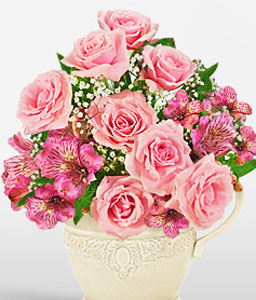 Just For You-Pink,Alstroemeria,Mixed Flower,Rose,Arrangement