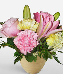 Sweet Expressions-Mixed,Pink,Yellow,Carnation,Lily,Mixed Flower,Rose,Arrangement