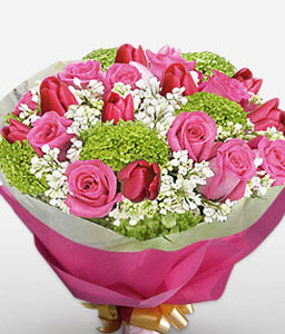 Raspberry Delight-Pink,Red,Carnation,Mixed Flower,Rose,Tulip,Bouquet