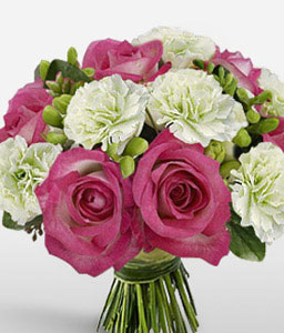 Expressions Of Joy - Pink Roses & White Carnations-Pink,White,Carnation,Rose,Bouquet