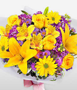 Blooming Hues-Purple,Yellow,Alstroemeria,Daisy,Hydrangea,Lily,Mixed Flower,Rose,Bouquet
