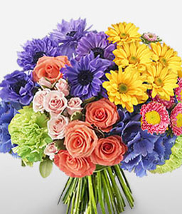 Chroma Burst-Blue,Mixed,Orange,Purple,Yellow,Daisy,Gerbera,Hydrangea,Mixed Flower,Rose,Bouquet