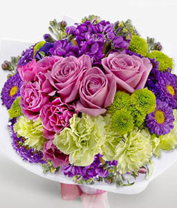 Glamour Bouquet-Green,Mixed,Pink,Purple,Rose,Mixed Flower,Carnation,Bouquet