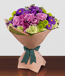 Glamour-Green,Mixed,Pink,Purple,Rose,Mixed Flower,Carnation,Bouquet
