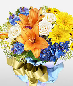 Dreamy Hues-Blue,Mixed,Orange,White,Yellow,Daisy,Gerbera,Iris,Lily,Mixed Flower,Rose,Bouquet