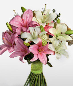 Birthday Lilies-Pink,White,Lily,Bouquet