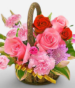 Glowing Elegance-Pink,Red,Rose,Carnation,Arrangement,Basket