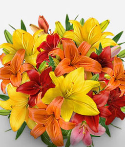 Zurich Zest-Mixed,Orange,Red,Yellow,Lily,Bouquet