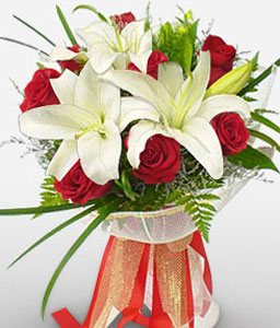 Pure Ecstasy-Red,White,Lily,Rose,Bouquet