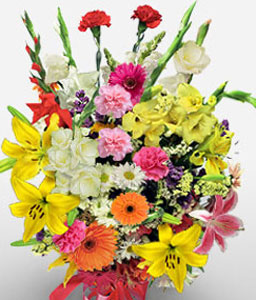 Elegance-Mixed,Orange,Pink,White,Yellow,Carnation,Daisy,Gerbera,Lily,Mixed Flower,Bouquet