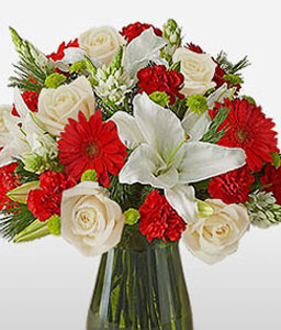 Exalted-Red,White,Gerbera,Lily,Rose,Arrangement