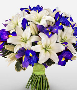 Elegantly Beautiful-Blue,White,Lily,Bouquet