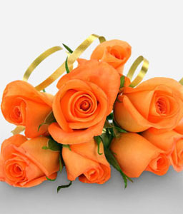 8 Handtied Orange Roses-Orange,Rose,Bouquet